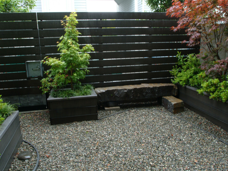 Stone Bench, Trex Fence