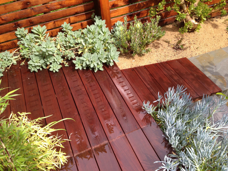deck and plantings
