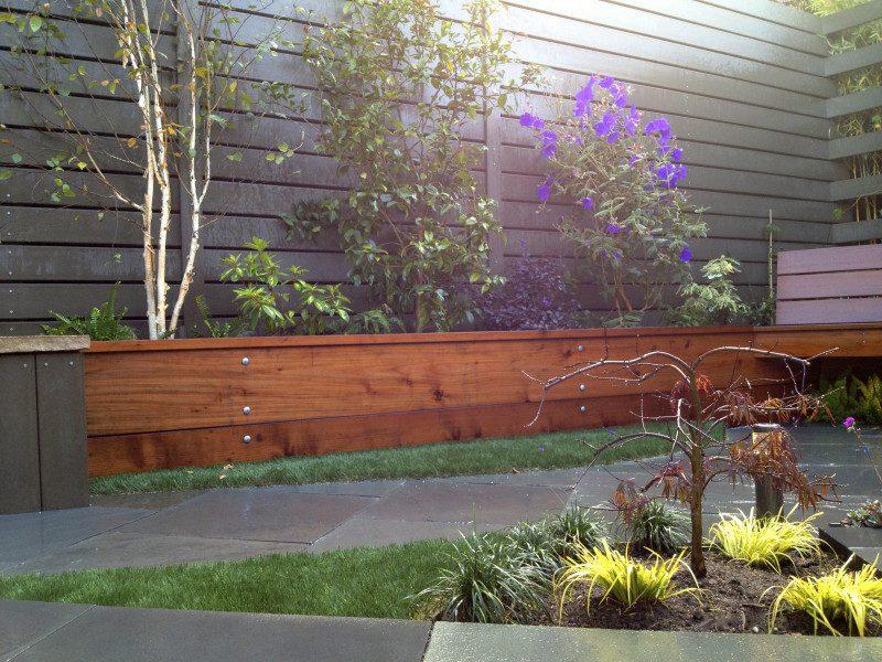 raised redwood planters