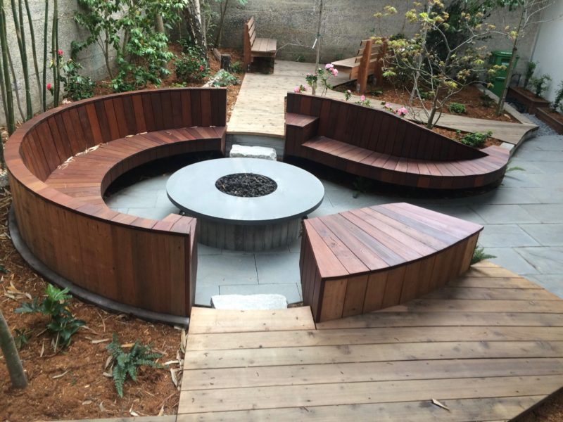 rounded benches